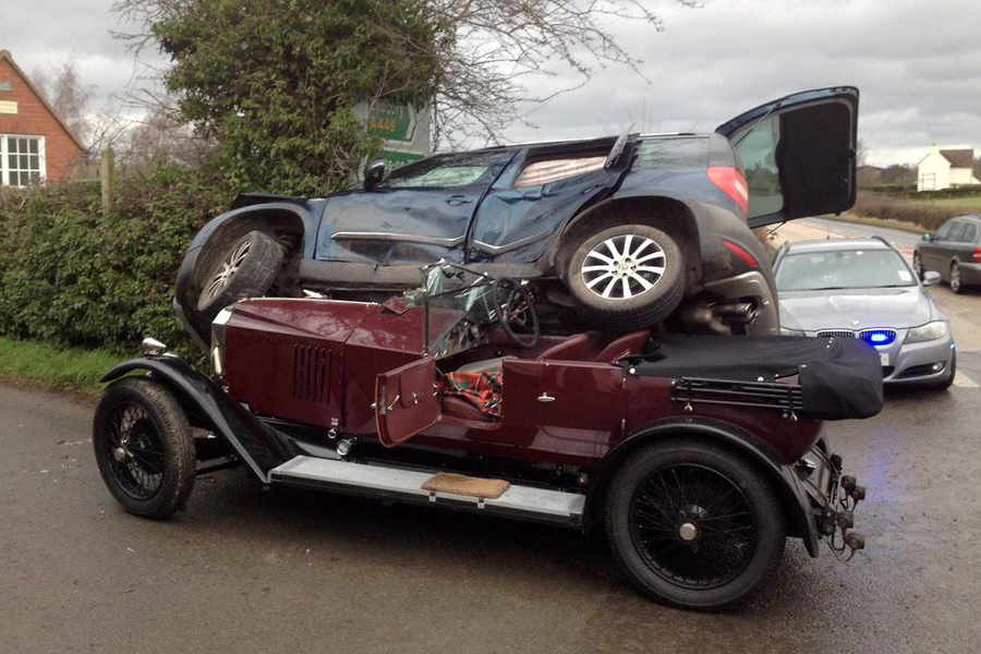 PICTURED: Classic car enthusiast has lucky escape after vehicle ...